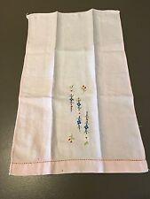"Vintage Linen Embroidered HAND TOWEL Guest Pale Pink Floral 17.5""-10.5"""