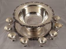 TOWLE SILVERPLATE PUNCH BOWL TRAY AND 8 CUPS