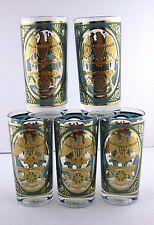 Georges Briard Hiball Highball Bar Ware Tumblers Glasses Turquoise Gold 5pcs