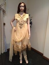 "36"" S Teenage Girls Salwar Kameez Indian Fancy Dress Kids Bollywood Beige Gold"