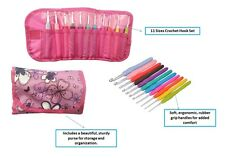 Ergonomic Crochet Kit, 11 Knitting Needle Crochet Hook Gift Set Purse organizer