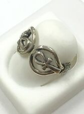 Vintage Egypt Style Double Ankh Ring .800 Silver, Size 8