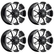 "Set 4 18"" Vision 413 Valor Black Machined Rims 18x8.5 5x150 18mm 413-8858GBMF18"