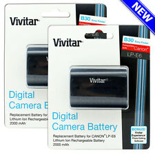 2 Pack Vivitar LP-E6 Battery for Canon EOS 60D 70D 80D 5D Mark III II 6D 7D Mark