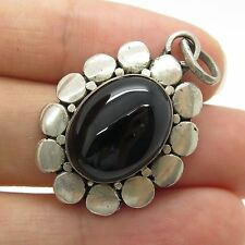 Vintage Sterling Silver Large Cabochon Cut Black Onyx Gem Flower Pendant