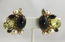VINTAGE Jewelry UNSIGNED SCHREINER RHINESTONE CABOCHON & FX PEARL CLIP EARRINGS