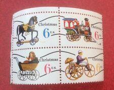 1970 1415-19 estampillada sin montar o nunca montada Bloque de 4 6c Juguetes de Navidad de sellos de Estados Unidos
