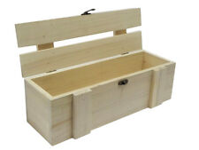 Wooden Long Box Case Crate Storage Unpainted Decoupage Craft Gift