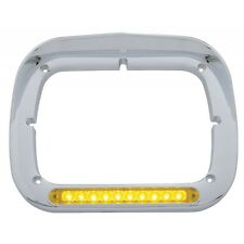 LED Rectangular Headlight Bezel Amber LEDs / Amber Lens