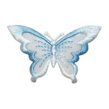 ID 2302B Blue Sheer Wing Butterfly Bug Embroidered Iron On Applique Patch