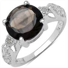 925 Sterling Silver Ring Decorated with Smoky Topaz and White Diamonds
