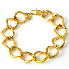 mens 14K Solid Gold Filled jewellery 190mm hip hop Chain Bracelet 12mm Thick
