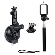 Suction Cup Mount For GoPro Hero 1 2 3 3+ 4 Camera with Monopod Accessories
