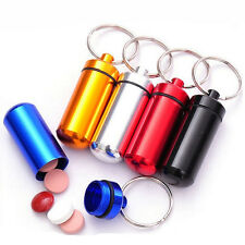 5pcs Aluminum Pill Box Case Bottle Drug Holder Keychain Container