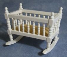 White Rocking Cradle Dolls House Miniature Nursery cot rocking baby 1.12 scale