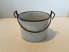 Vintage Small White With Cobalt Blue Trim Enamelware Pail Bucket L & G Mfg. Co.