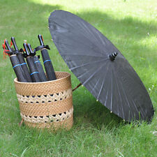 """Charming Black Fabric Parasol with ribbon for Adult size 33"""""""
