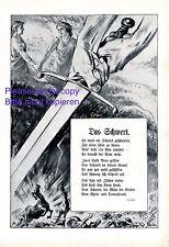 Das Schwert XL Kunstdruck 1914 Leo Heller Carl Streller WK1 Krieg Schlacht Kampf