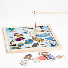 Wooden Magnetic Fish Go Fishing Rod Game Jigsaw Puzzle Board Children Kids Toys