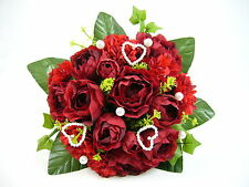 Wedding Artificial Silk Flower Dark Red Ball Heart Rose Ivy Pearl Bridal Bouquet