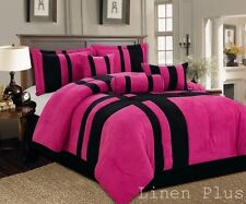 7 Piece Pink Black Micro Suede Comforter Set Full Size New