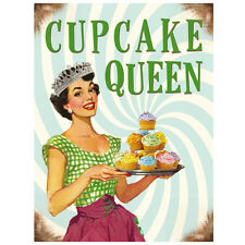 Quality Vintage Retro 50's Style CUPCAKE QUEEN Metal Wall Sign Gift