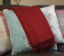 luxurious Cashmere Throws Blankets Handwoven Maroon for Sofa Bed Chair