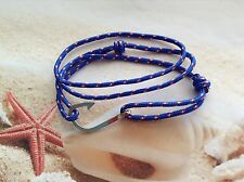NAUTICAL UNISEX BLUE ADJUSTABLE CORD ROPE FISH HOOK WRAP BEACH BRACELET