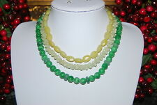 BEAUTIFUL VINTAGE MULTI STRAND NECKLACE OF NATURAL GREEN STONES AND CRYSTALS