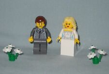 NEW LEGO WEDDING BLONDE HAIR BRIDE AND GROOM IN DK GRAY PINSTRIPE SUIT MINIFIGS
