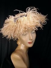 ~Fabulous vintage  '40s TILT hat with ostrich trim~World War II~EXCELLENT~