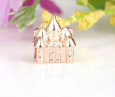 ROSE GOLD PLATED PRINCESS CASTLE CHARM BEAD FOR BRACELET OR NECKLACE