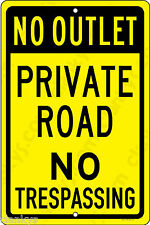 """Private Road No Trespassing 12"""" x 18"""" Aluminum Sign Made in USA UV Protected"""