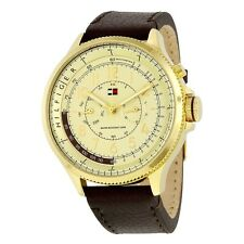 Tommy Hilfiger Walker Men's Multifunction Gold Brown Leather Watch 1790733 NEW