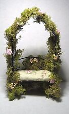Dollhouse Miniature or Fairy Garden- Moss & Rose Covered Arbor w/Quilted Cushion