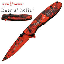 Deer a'holic Assisted Opening Camo Hunting Pocket Knife