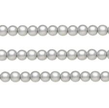 Wood Round Beads Silver 6mm 16 Inch Strand