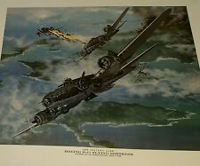 WWII B-17 Flying Fortress Bombers evading Japanese aircraft Print by Tony Weddel