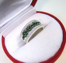 1.79 CTW CHROME DIOPSIDE & WHITE SAPPHIRE RING sz 7 - WHITE GOLD/STERLING SILVER