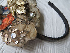mint/vtg80s/hand embroidered fasCinator/MAMIE/GOLD, LACE, LEATHER, EMBROIDERY