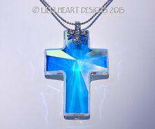 m/w Swarovski Aurora Borealis 40mm Cross Double Cross Chain Lilli Heart Designs