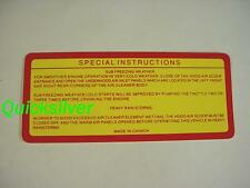 1969 A12 440 Six Pack RR Super Bee Special Instructions Air Cleaner Decal NEW