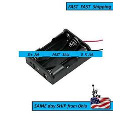 Plastic AAx3 / AA x 3 Battery Holder/ case / box Black - Long LEADS