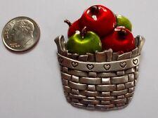 Vintage Pewter Enamel Basket of Apples - Bushel O' Love Brooch Signed AJMC
