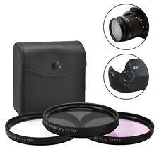 52mm 3 Piece Multi-Coated HD Digital Lens Glass Protector Filter Kit UV CPL FLD