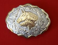 Heavy Silver Plated Cowboy  Belt Buckle Vintage Crumrine