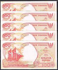 INDONESIA - LOTE 5 BILLETES 100 RUPIAS 1992(1995) P. 127d  SC  UNC