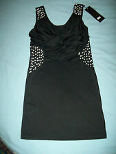 ladies black mini dress with pearls & mounted diamonds size S/M