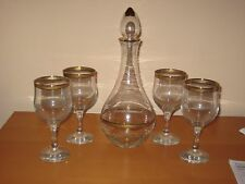 Clear Glass Wine Decanter w/ Gold Trim & 4 Goblets