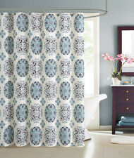 Cream Embossed Fabric Shower Curtain: Teal and Gray Moroccan Medallion Design